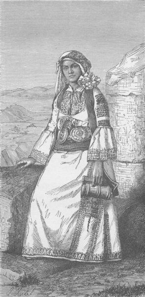 "Greek woman of Hagios-Vasilios (Arcadia) , Antique wood engraved print, 1894 ""Peoples of the World"", by Robert Brown, published by Cassell & Co[Vol 6] (ebay)"