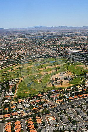 Aerial photo of Las Vegas suburbs on a sunny day. Nevada, United States of America.