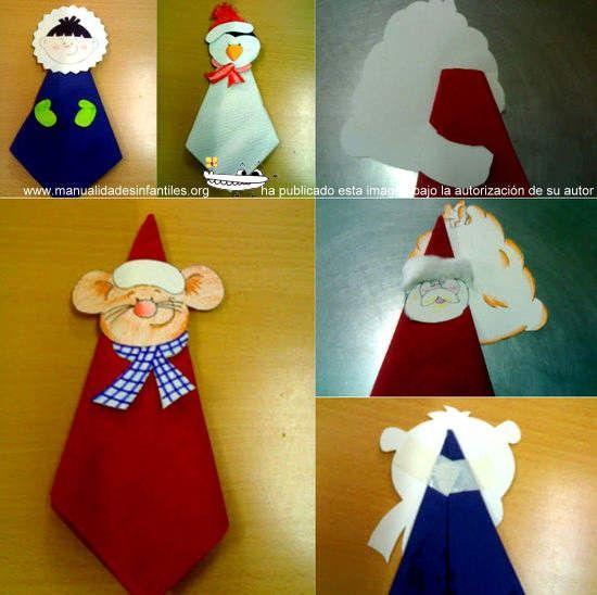 Servilleteros navide os imprimibles para ni os peque os - Manualidades navidenas para ninos pequenos ...