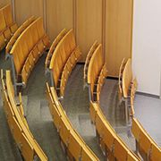 Wilsonart used a rich woodgrain to bring this lecture theater to its unique design F.2