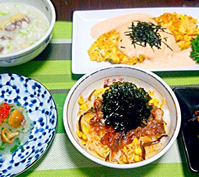 見えないようでも けっこう野菜、あちこちに入ってます♪ - 9件のもぐもぐ - 投稿し直し~(ToT)     コムタンクッパスープ   小ねぎと人参のオムレツ たらこソース   山なめこのおろし和え  ビビンバ丼  ナスとピーマンの柚子味噌炒め by YokoIshikawa