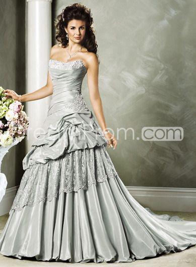 : Long Dresses, Wedding Dressses, Grey Wedding, Gray Wedding, Strapless Wedding Dresses, Wedding Gowns, Projects Wedding, Masquerades Ball Gowns, Silver Wedding
