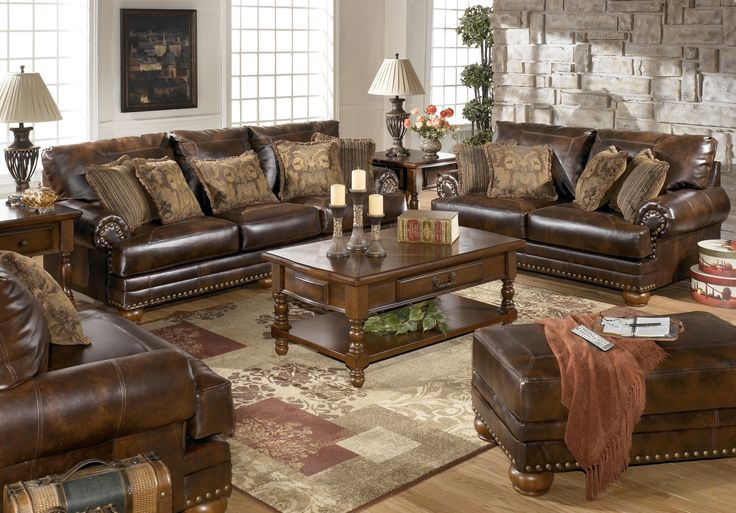 My new Sofa and Loveseat!! Ashley Furniture DuraBlend Antique - antique living room sets
