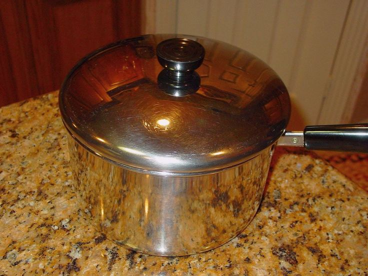 Revere Ware 4 Quart Sauce Pan Pot Stainless Cookware Clinton Illinois With Lid  #RevereWare
