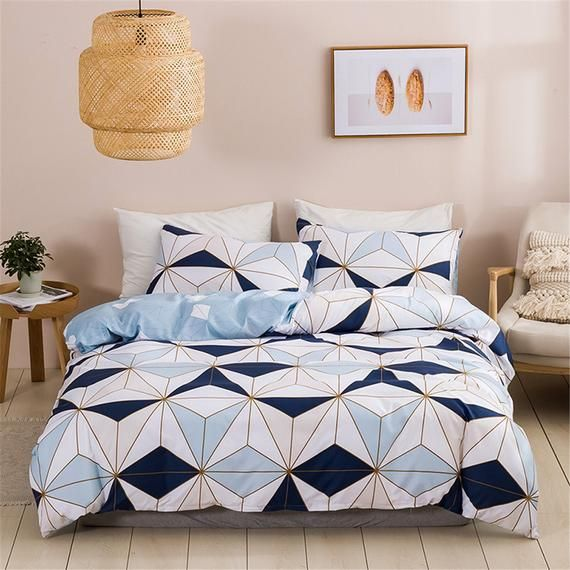 Triangle Duvet Cover Set Geometric Bedding Set Blue White Duvet Cover Set Soft Duvet Cover Sets Twin Geometric Bedding Duvet Bedding Sets Bedding Sets