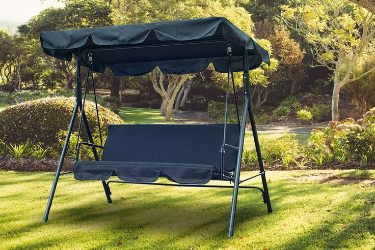 3-Seater Garden Swing Chair - 3 Colours! deal in Sheds & Garden Furniture Get a three-seater garden swing chair in your choice of black, brown or grey.  With a comfortable seat and back cushion with thick padding.  And an adjustable canopy angle to catch the sunshine and the shade.  Made from steel pipe, waterproof polyester, Oxford cloth and cotton.  A wonderful relaxation spot for your lawn, patio, decking or poolside. BUY NOW for just £49.00