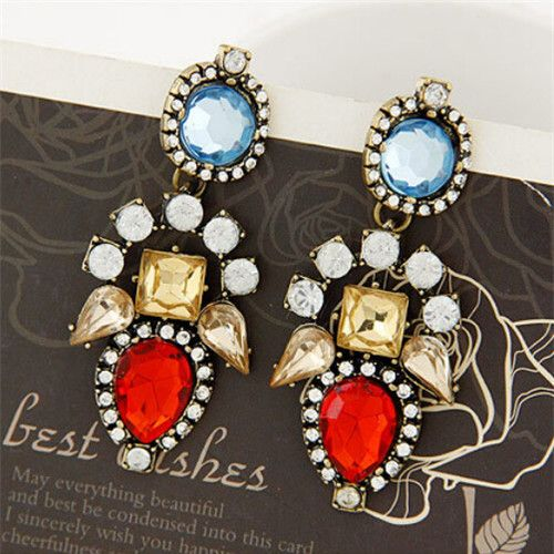 2014 new classic hot fashion temperament exaggerated rhinestone crystal earrings-in Drop Earrings from Jewelry on Aliexpress.com   Alibaba Group