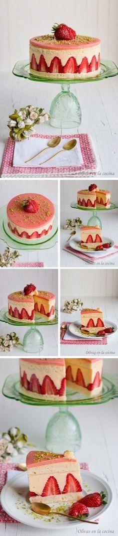 Tarta fraisier, fraisier cake, fresas, pastel, pistacho, mazapan, reposteria francesa