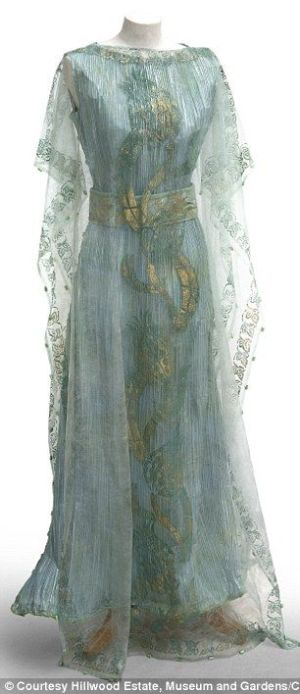 1908 Callot Soeurs dress by Kay Berry 1900s turn of the century blue silk sheer embroidered pale aqua gold grecian.