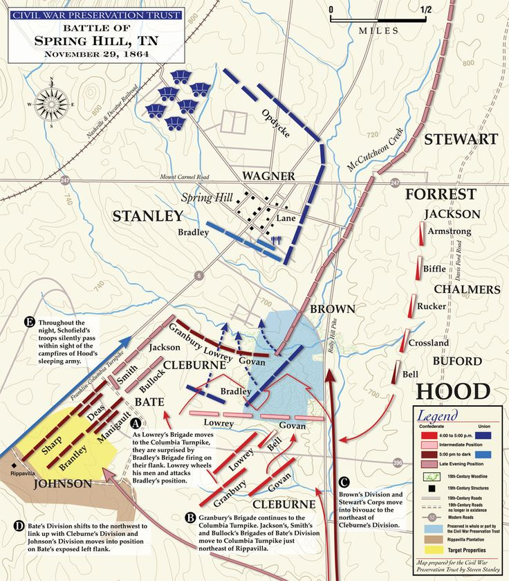 Maps of Spring Hill, Tennessee (1864)  BATTLE OF SPRING HILL