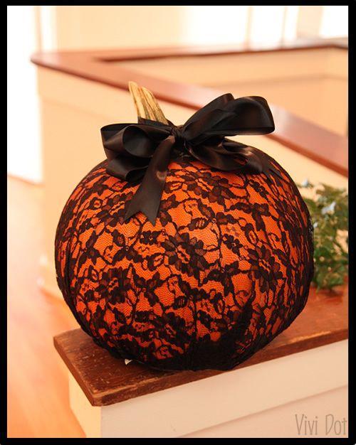 My easier than pie lace pumpkin decor.