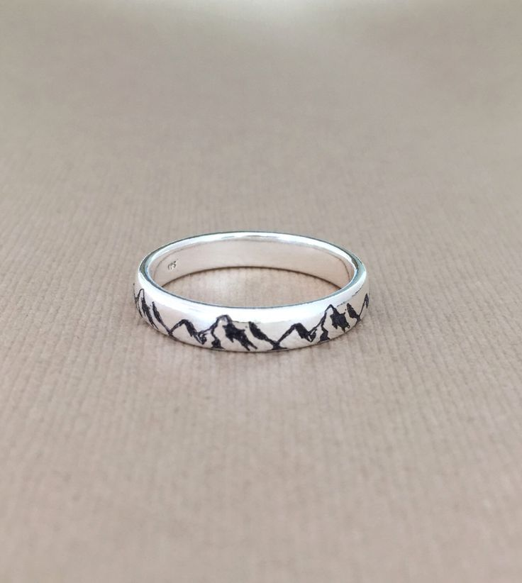 Mountain Ring /Mountain Ring with engraved Custom- Personalized ring,  925 Sterling Silver Ring/mountain lovers/mountaineer/climber/alpinist by NaosJewel on Etsy https://www.etsy.com/listing/269259118/mountain-ring-mountain-ring-with