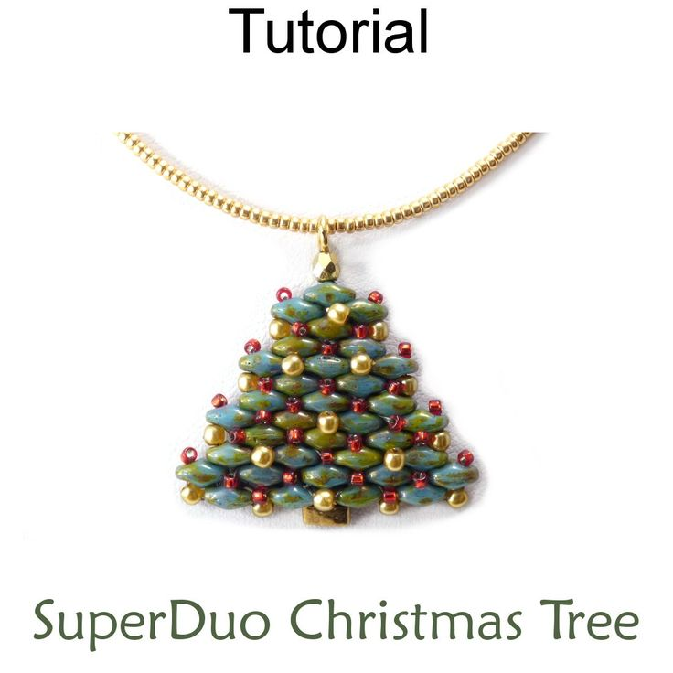 2 Hole SuperDuo Beaded Christmas Tree Necklace Earrings Holiday Jewelry Downloadable Beading Pattern Tutorial
