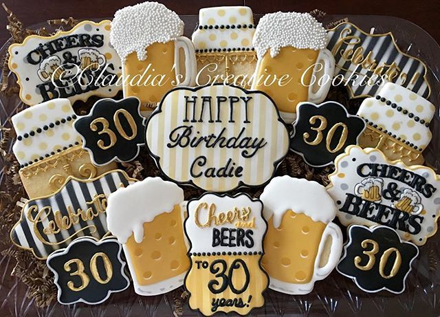 Cheers and beers!!! #decoratedcookies #decoratedsugarcookies #customcookies #beercookies  #cheersandbeers #cheersandbeercookies #birthdaycookies #cookies #beer #celebrate inspired by @cajunhomesweets
