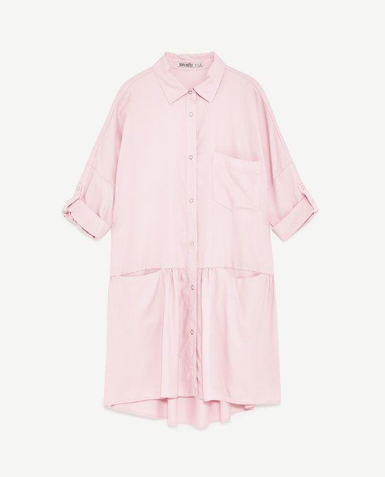 SHIRT DRESS WITH FRILL from Zara