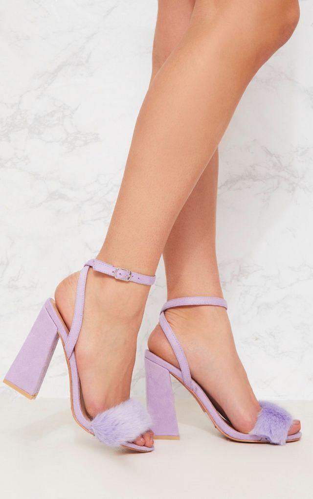 0b355390023 Lilac Faux Fur Strappy Block Heel Sandal
