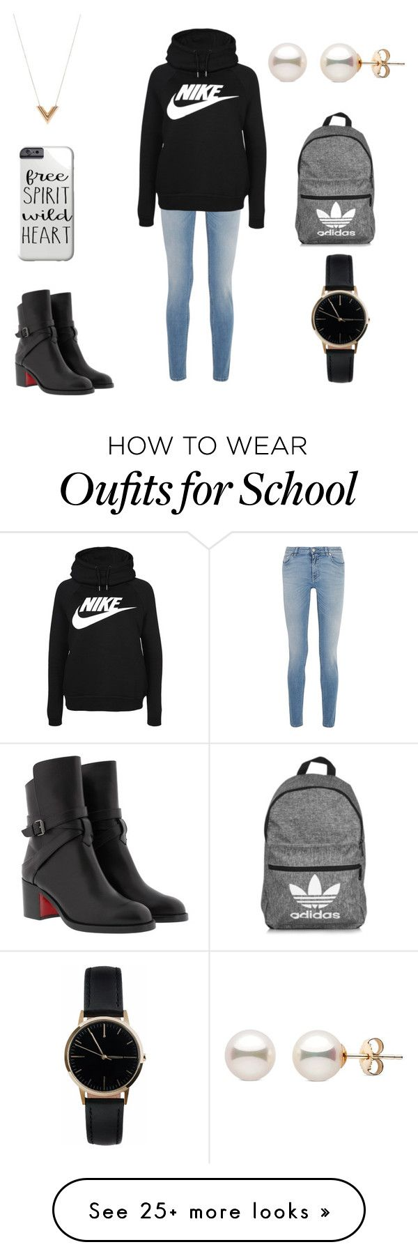 """""""Casual School Day"""" by oklassiter on Polyvore featuring Givenchy, NIKE, Christian Louboutin, adidas, Freedom To Exist and Louis Vuitton"""