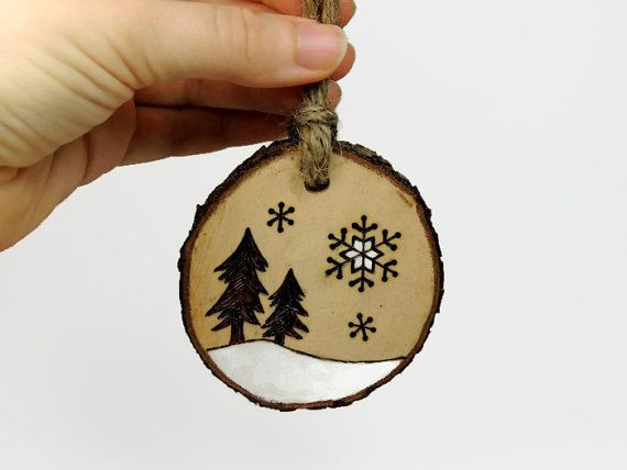Natural wood burned ornament tree and by SimplyTwitterpated