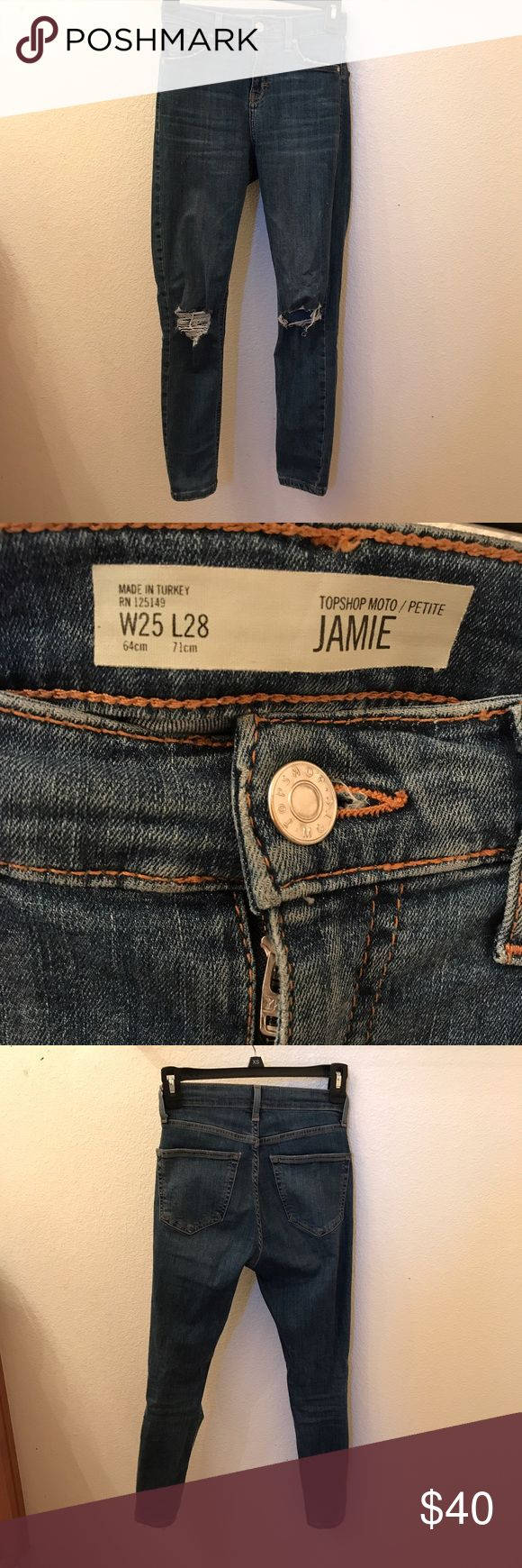 Topshop Jamie High Waisted Distressed Jeans Petite Great condition. Petite size. Topshop Jeans