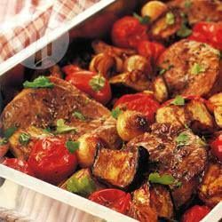 Roast Lamb with Eggplants----Classic Mediterranean flavours like eggplant, lamb, tomatoes and cumin are combined in this beautiful roast. Serve with warm bread. Preparation: 0:20, Cook: 0:45, Serves: 4, Unrated.