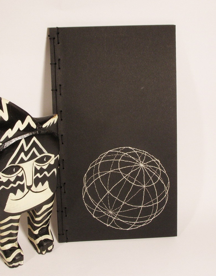 Embroidered Notebook with Black Pages / Globe, via Etsy.