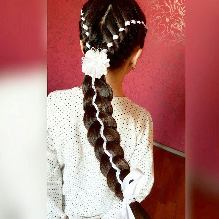 Коса из пяти прядей с лентами