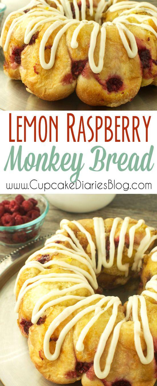 Lemon Raspberry Monkey Bread - A sweet and citrusy bread for breakfast or brunch