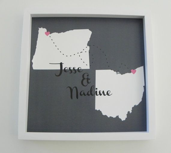 Idea for a save-the-date? It could either be cute or too much, considering how many places we will have both lived.