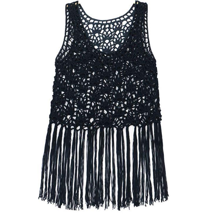 Asombroso Patrón Camiseta Sin Mangas Hippie Crochet Friso - Manta de ...