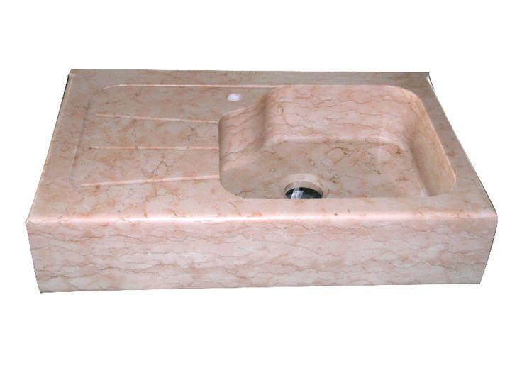 Lavello cucina dotato di gocciolatoio in marmo Rosa Egeo ...