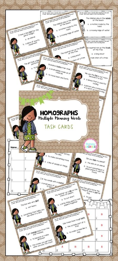 Homograph Task Cards for First, Second, and Third Grade