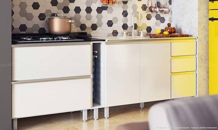 Cozinha Compacta Modulada 6 Módulos Branco/Prata - Poliman