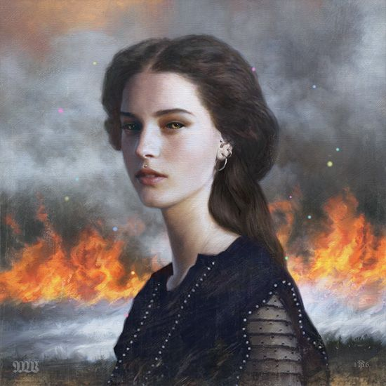 Girl on Fire | At first you think it's a young lady in the times of Victorian England but when you look closer you see the earrings and even the piercing on the top of her lips - Love it!