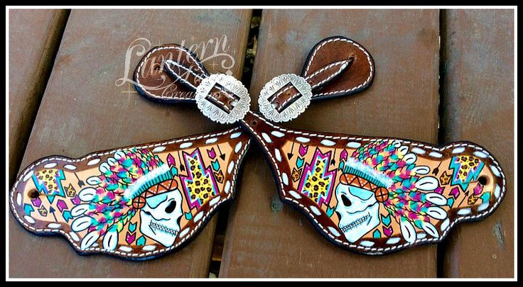 Custom painted Indian Chief Skull spur straps