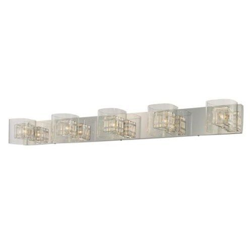 George Kovacs P5805-077 5 Light Jewel Box Bathroom Light by Kovacs. $260.00. Light Bulb:(5)40w T4 G9 120v Xenon  5-Light Bathroom Light  Clear glass  Aluminum cage/Chrome backplate. Save 27% Off!