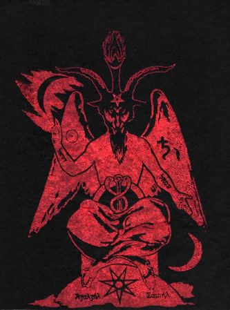 Michael W. Ford's Luciferian Azazel-Cain Sabbatic Goat or Baphomet printed in red on black felt, the opposite side is the red printed Lucifer seal. 8x10 felt print. A design by Michael W. Ford exclusi