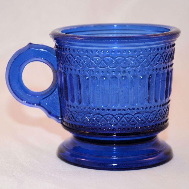Vintage Early American Press Glass Blue Children's Mug EAPG from @antikavenue on @rubylane #EAPGchildrensmug #vintageblueglass #antiqueglass