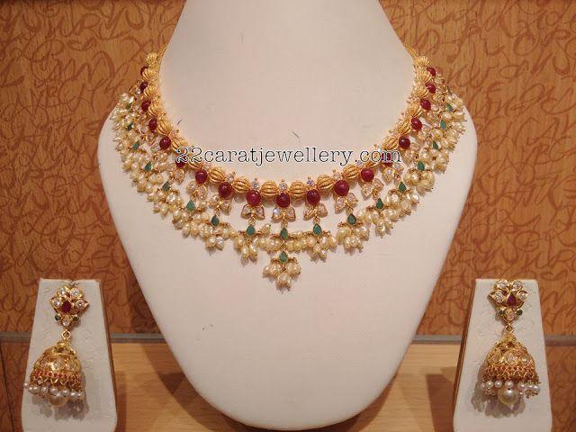 Pota Ruby Gottapusalu Necklaces - Jewellery Designs
