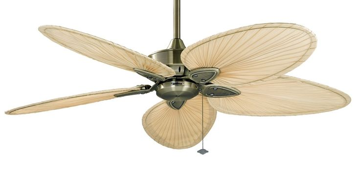 The Islander ceiling fan is one of Fanimation's classic designs that have withstood the test of time. For over thirty years, the natural elegance and versatility of this tropically inspired ceiling fan have contributed to its undiminished popularity. Picture here in Antique Brass with Narrow Natural Palm Blades.