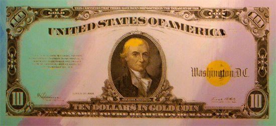 Steve Kaufman Prints for sale - 1922 Gold ten dollars I  More info: https://www.artetrama.com/en/artworks/steve-kaufman-1922-gold-ten-dollars-i  #stevekaufman #popart #dollars #bill #canvas #silkscreen #fineart #prints
