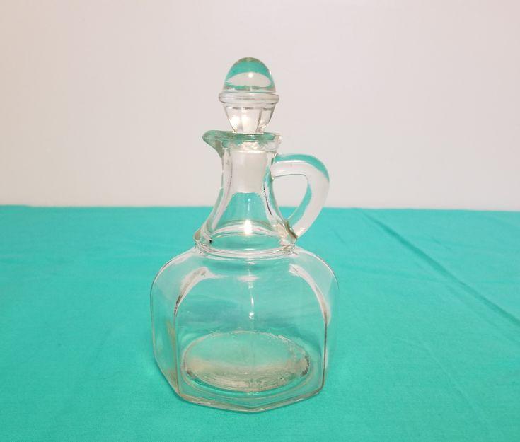 Vintage Clear Glass Olive Oil Vinegar Cruet With Stopper