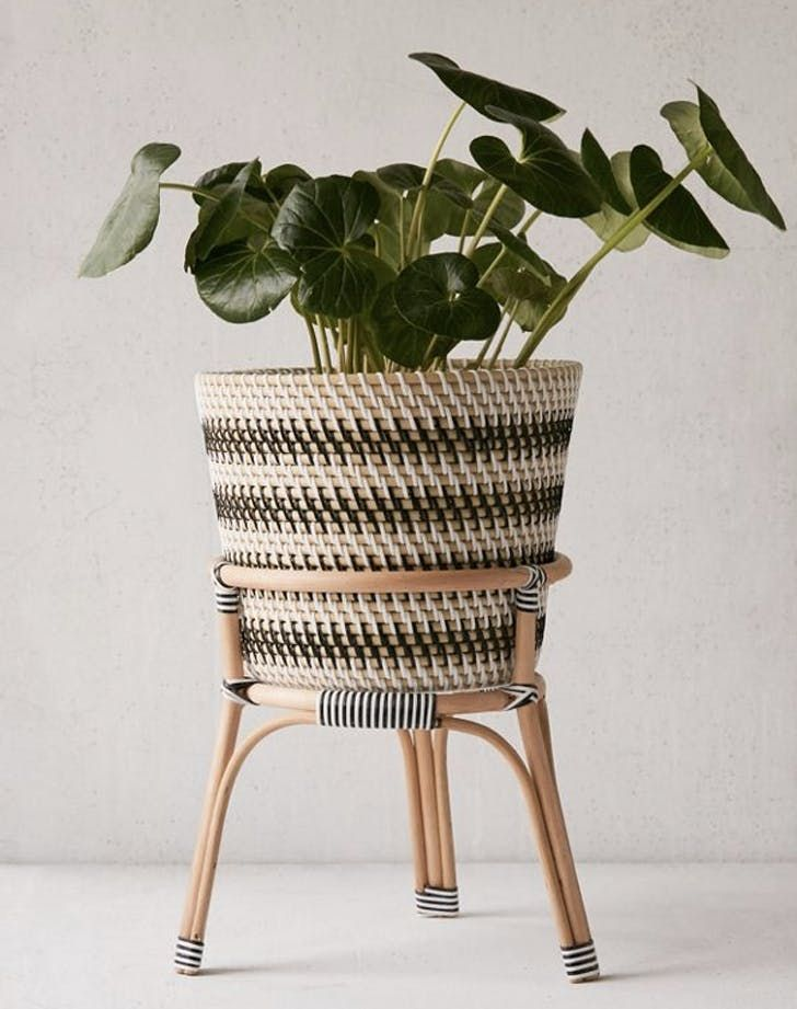 13 Stylish Planters That Instantly Zhuzh Up Your Home Rattan Planters Planter Stand Indoor Flower Pots
