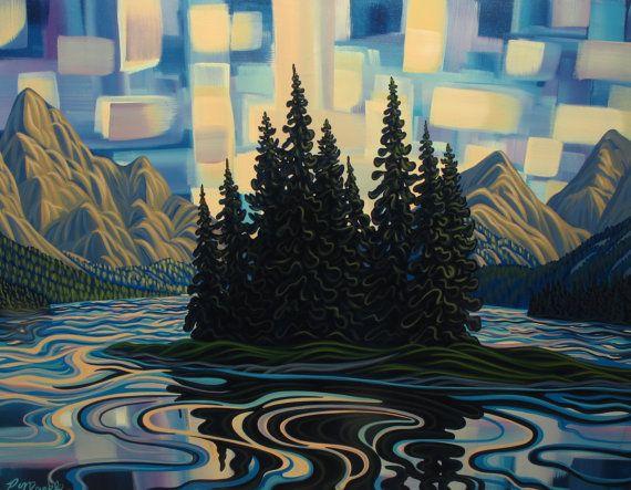 Spirit Island Abstract II 30X40 Landscape by patrickmarkle on Etsy, $2400.00