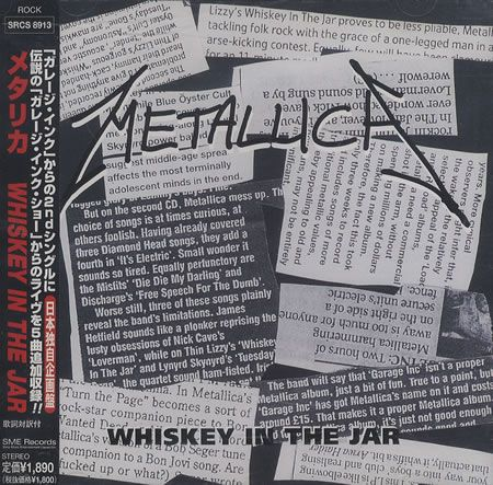 "Metallica, Whiskey In The Jar, Japanese, Promo, Deleted, CD single (CD5 / 5""), Sme, SRCS-8913, 143347"