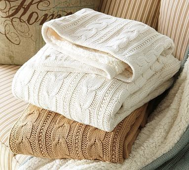 Winter white and beige cable knit throws