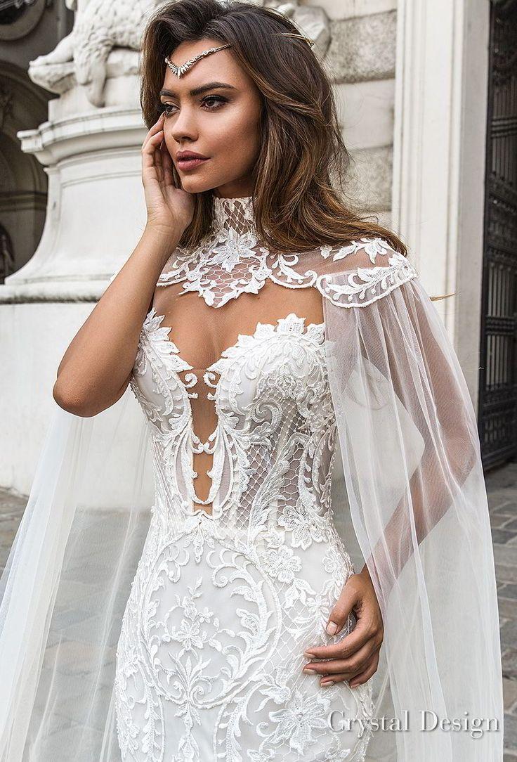 crystal design 2018 sleeveless strapless deep plunging sweetheart neckline full embellishment elegant mermaid wedding dress sheer button back chapel train (gia) zv