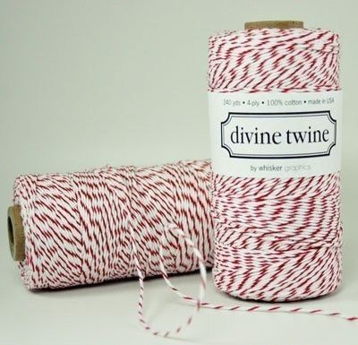 RED Bakers Twine Red Twine and White Stripes Cotton por PrettyTape