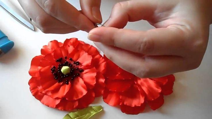 Мак из атласных лент, Уроки Канзаши для Начинающих   DIY Poppy flower