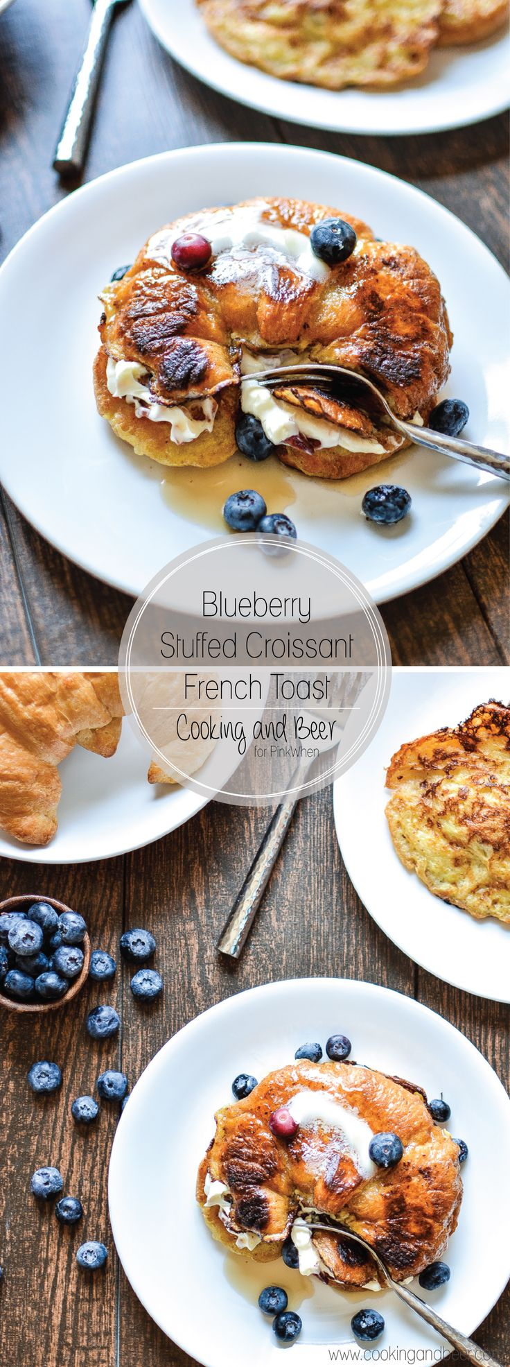 Blueberry Stuffed Croissant French Toast with Bacon: a weekend brunch indulgence that you've got to try! | www.cookingandbeer.com
