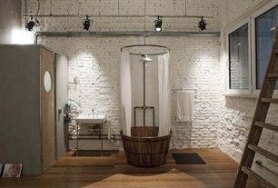 """Eclectic 3/4 Bathroom with Wood Barrel bath tub WOODEN bathtub 38"""" x 34"""", Hardwood floors, Freestanding, Rain shower, Sauna"""